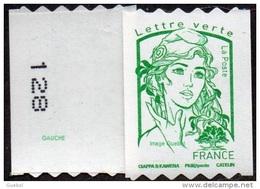 Autoadhésif(s) De France N° 1257.** Marianne De Ciappa Et Kawena. Sans Le Grammage Verte (PRO Verso N° à Gauche) - France