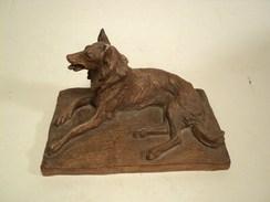 Charles Chivot (1866-1941) Chien Berger Ou Colley Sculpture Terre Cuite Patinée Signée - Autres