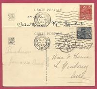 Lot De 2 - Carte Postale Timbres Exposition Coloniale 2 Couleurs Avec Obliteration Concordante PARIS 1931 - 1921-1960: Moderne