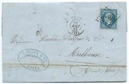 N° 22 BLEU NAPOLEON SUR LETTRE LILLE POUR MULHOUSE / 1863 - Postmark Collection (Covers)