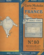 Carte MICHELIN N° 80 : RODEZ-NIMES - 1 / 200 000ème - Avant 1927. - Roadmaps