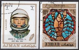 772 Ajman 1971 Astronauta John H. Glenn - Zodiaco Cancro Cancer - Stainled Glass Window Vetrata Notre Dame - Astrologia