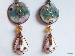 Boucles D'oreilles émaux Sur Cuivre Turquoise Blanc Gouttes Tissées Miyuki Delicas Et Cristal AB  De Ravissantes Boucles - Earrings