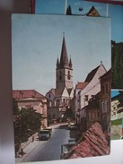 Roemenië Romania Rumenien Sibiu View With Church And Road With Cars - Roemenië