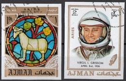 769 Ajman 1971 Astronauta Virgil I. Grissom - Zodiaco Aries Ariete - Stainled Glass Window Vetrata Notre Dame - Astrologia