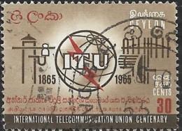 CEYLON 1965 Centenary Of ITU -  30c  ITU Emblem And Symbols FU - Sri Lanka (Ceylon) (1948-...)