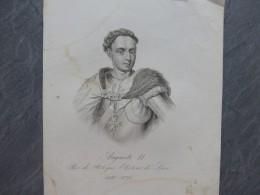 Auguste II Roi De POLOGNE, électeur De Saxe, Gravure ORIGINALE 1835 ; Ref 646 G 10 - Estampas & Grabados