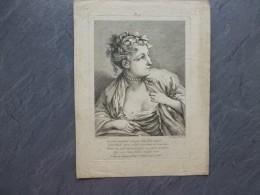 F. BOUCHER, Jeune Fille Montrant Ses Seins, Gravure ORIGINALE  XVIIIème Chez Huquier  ; Ref 654 G 10 - Estampes & Gravures
