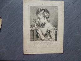 F. BOUCHER, Jeune Fille Avec Un Oiseau, Sylvie,  Gravure ORIGINALE  XVIIIème Chez Huquier  ; Ref 655 G 10 - Estampes & Gravures