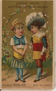 -CHROMOS-Vers 1900-CHOCOLAT POULAIN-COSTUME LOUIS XIII-Ft 10.5x 6.5Cm-BE-RARE - Thé & Café