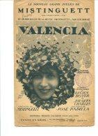 Valencia Par Mistinguett - Editions Francis Salabert - Copyright 1925 - Chant Soliste