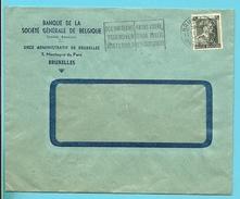 """480 Op Brief Met Firmaperforatie (perfin) """" SG """" Van Banque De La Societe Generale De Belgique Met Stempel BRUXELLES - 1934-51"""