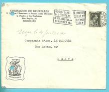 """480 Op Brief Met Stempel BRUSSEL, Firmaperforatie (perfin) """" P.B. """" Van Compagnie De Bruxelles - 1934-51"""