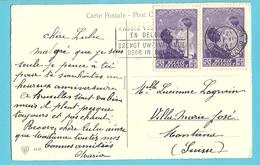450 (surtaxe) Op Kaart Met Stempel BRUXLLES - Briefe U. Dokumente
