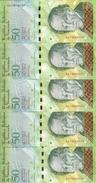 VENEZUELA 50 BOLIVARES 2015 UNC P 92 J ( 5 Billets ) - Venezuela