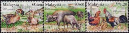 Malaysia 2015 S#1534-1536 Farm Animals MNH Fauna Bird Goose Chicken Buffalo Zodiac - Malesia (1964-...)