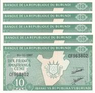 BURUNDI 10 FRANCS 2007 P-33e UNC 5 PCS [BI214l] - Burundi