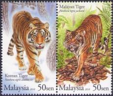 Malaysia 2010 S#1283 Tiger Joint Issue MNH Fauna - Malaysia (1964-...)