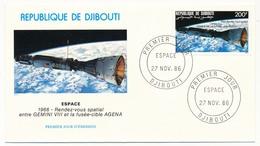 DJIBOUTI => 2 FDC - Espace - 27 Nov 1986 - Djibouti (1977-...)