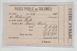 Poids Public De Dolomieu 1913 Biboud Paille Berlioz - Vieux Papiers