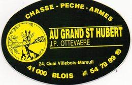 Blois. Autocollant Au Grand St Hubert. Chasse-Pêche-Armes. (Années 70). - Stickers