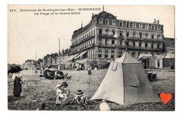 15555-LE-62-Environs De Boulogne-sur-Mer-WIMEREUX-La Plage Et Le Grand Hôtel - Boulogne Sur Mer