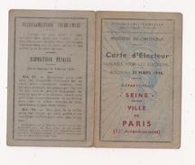 CARTE D'ELECTEUR VILLE DE PARIS 12 E Arrondissement 1946 - Documentos Antiguos