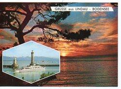 CP Grüsse Aus Lindau - Coucher De Soleil  Bodensee  Multivues Phare Lighthouse -  Allemagne (R162) - Controluce