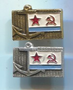 Ship / Schiff / Boat - Navy Marine Kriegsmarine, USSR / Russia, Vintage Pin, Badge, Abzeichen, 2 Pcs - Bateaux