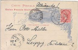 Brazil: Illustrated Postcard, San Leopoldo Via Rio - Leipzig Germany 23 Jul 1894 - Brazil
