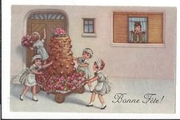 16606 - Bonne Fête Brouette Fleurie Et Sa Tour En Chocolat 4 Filles - Fêtes - Voeux