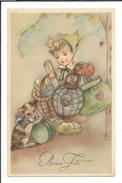 16608 - Bonne Fête Fillette Avec Cadeaux  Coeurs Et Petit Chien - Anniversaire