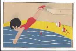 16609 - Le Plongeoir Fille Carte Collage - Natation