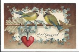 16610 - Anniversaire Oiseaux Coeur Myosotis Carte En Relief - Anniversaire
