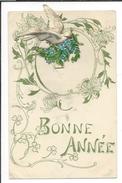 16611 - Bonne Année Colombe En Relief Apportant Bouquet De Myosotis - Nouvel An