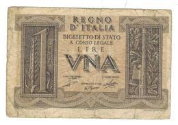 Italy, 1 Lire 1939, Used, See Scan. Free Ship. To USA. - Italia – 1 Lira