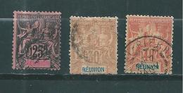 Timbre De Réunion De 1892  N°39 A 41  Oblitérés - Used Stamps