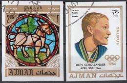 770 Ajman 1971 Nuoto Don Scollander - Zodiaco Taurus Toro - Stainled Glass Window Vetrata Notre Dame - Astrologia