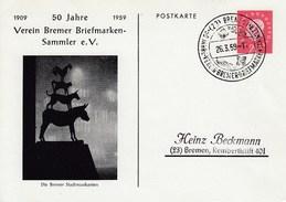 PP 19/1 1909 5o Jahre 1959 Verein Der Briefmarken-Sammler E.V., Die Bremer Stadtmusikanten, Bremen 1 - Privatpostkarten - Gebraucht