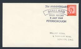 """Great Britain 1969 Cover / Brief - 31st Ann. """"MALLARD"""" Speed Record 3 July 1969 Peterborough - Treinen"""