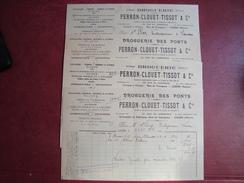 Lot De 4 Factures Droguerie Des Ponts PERRON-CLOUET-TISSOT & Cie COSNE NIEVRE Rue De Veaugues 1929 - Droguerie & Parfumerie