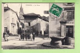 CESSIEU - La PLACE Avec Superbe Plan Animé - Restaurant Gatier - Peu Courant - 2 Scans - France