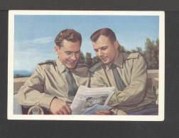 1961. USSR. Postcard.Cosmonauts Titov And Yuri Gagarin (photo With A Newspaper) No. X-26 - Space