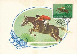 D29741 CARTE MAXIMUM CARD 1960 SAN MARINO - HORSE JUMPING IMPERFORATED STAMP - OLYMPICS CP ORIGINAL - Horses