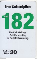 U.A.E. - Call 182, Etisalat Prepaid Card Dhs 30(reverse 1), Used