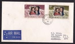 British Antarctic Territory (BAT): Cover Grahamland To Australia 1973, 2 Stamps, Royal Wedding, Air Label (discolouring) - Brits Antarctisch Territorium  (BAT)