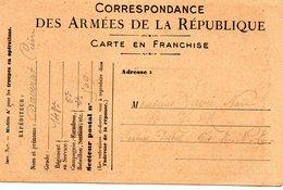 CARTE EN FRANCHISE - Correspondance Des Armées De La République écrite Le 29 Septembre 1916 - 1914-18