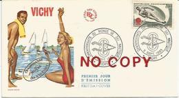 Championnats Du Monde De Ski Nautique, France, Vichy, 2.9.1963, Enveloppe Premier Jour D'émission. - Water-skiing