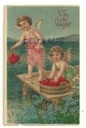 To My Valentine. Deux Anges Qui Pechent Des Coeurs. Dorée. Relief 1909 ??? - Saint-Valentin