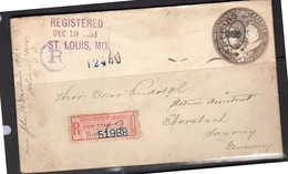 Registered Entire (=scarce!) 10 Cents 1893 St. Louis > Germany Ebersbach (flap Missing) (6)